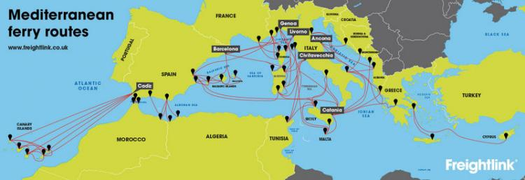 Mediterranean ferry route map